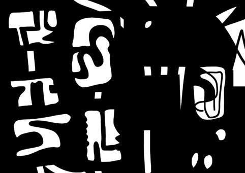 Pristowscheg.Nivuro precolombino.Perspectivas cromáticas.Abstract Art.Digital Art.Glifos sobre fondo negro. 91x129 cm | 36x50,92 in
