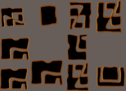 Pristowscheg.Nivuro precolombino.Perspectivas cromáticas.Abstract Art.Digital Art.Inscripción esotérica. 91x127 cm | 36x50 in