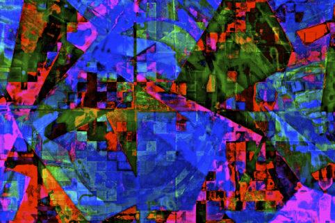Pristowscheg.Capítulo IV.Perspectivas cromáticas.Abstract Art. Digital Art.Blue Reactions. 84x127 cm | 33x50 in