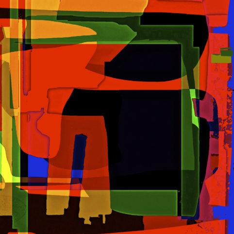 Pristowscheg.Los galimatías.Perspectivas cromáticas.Abstract Art. Digital Art.Courier. 91x91 cm | 36x36 in