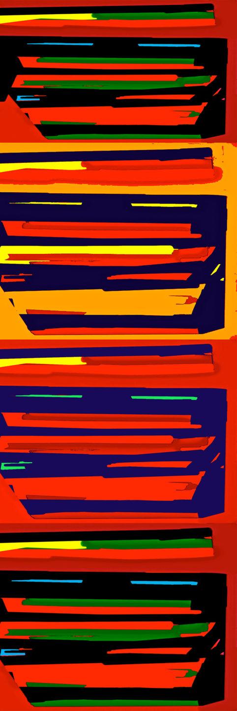 Pristowscheg.Busillis.Perspectivas cromáticas.Abstract Art. Digital Art.Striat #1. 120x40 cm | 47,25x15,75 in