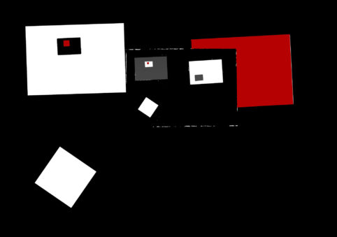 Pristowscheg.The Break.Perspectivas cromáticas.Abstract Art. Digital Art.Composición #9 con rojo.  91x130 cm | 36x51,194 in