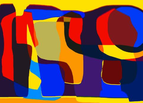 Pristowscheg.Garbuglio.Perspectivas cromáticas.Abstract Art.Digital Art.Figura elegante. 91x127 cm | 36x50 in