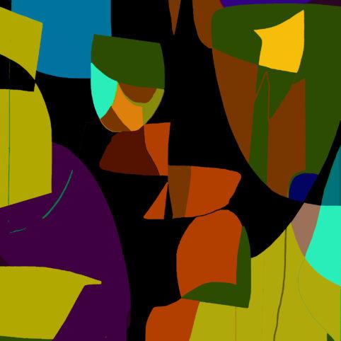 Pristowscheg.Garbuglio.Perspectivas cromáticas.Abstract Art.Digital Art.Trois visages. 91x91 cm | 36x36 in
