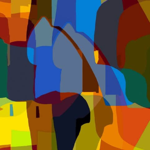 Pristowscheg. Digital Art. Abstract Art. Escena medieval 90x90 cm | 36x36 in